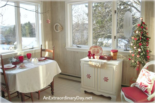 valentine tree Winter Home Decor with Red White