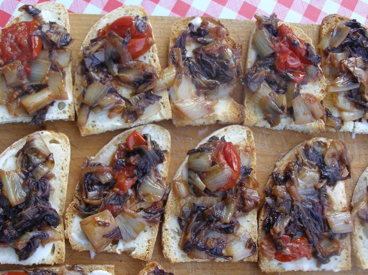 Gojee - Sauteed Radicchio and Cherry Tomato Crostini by La Tavola ...