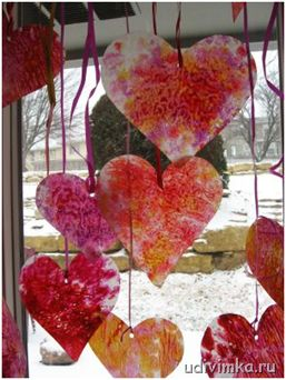 hearts from wax paper and wax pencils