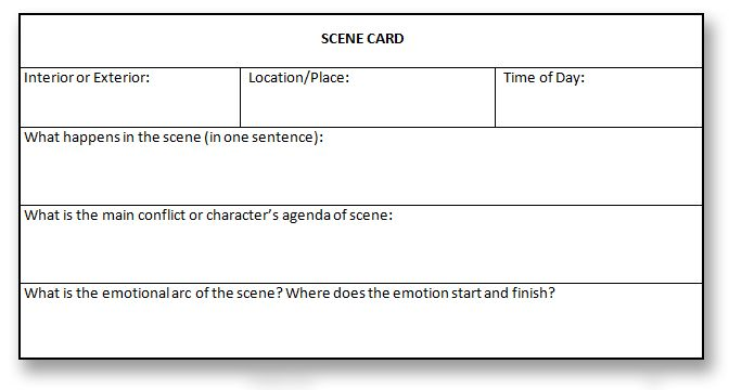scene cards   Writing a Book   Pinterest