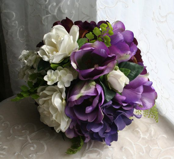 Purple Tulip Bouquet Hydrangea and White by jobywomackdesigns   74 99Purple And White Tulip Bouquet