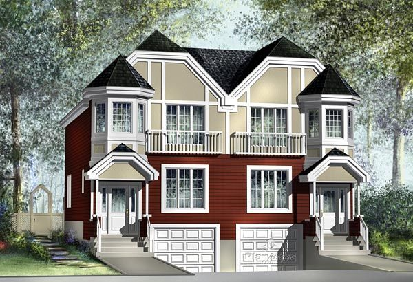 Multi family plan 49804 for Narrow lot multi family house plans