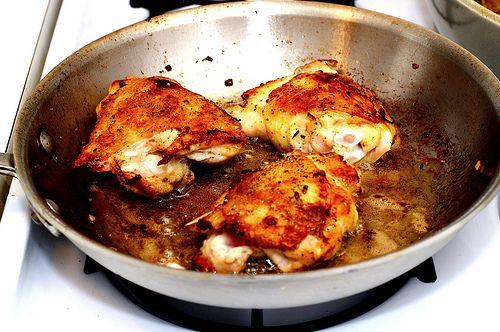 devil's chicken thighs + braised leeks | Recipes | Pinterest