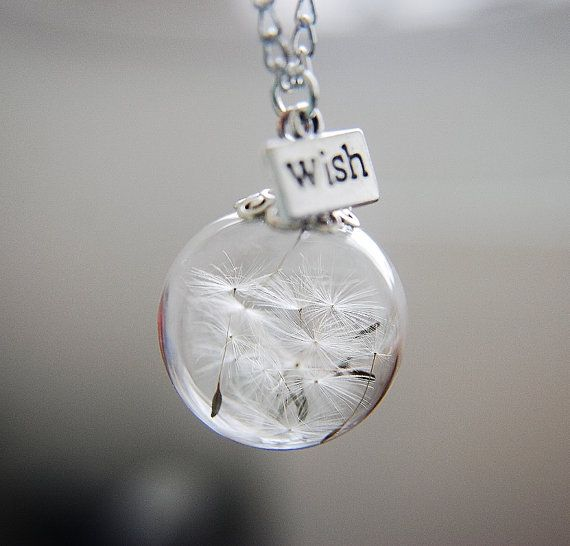 dandelion necklace make a wish glass bead orb bronze