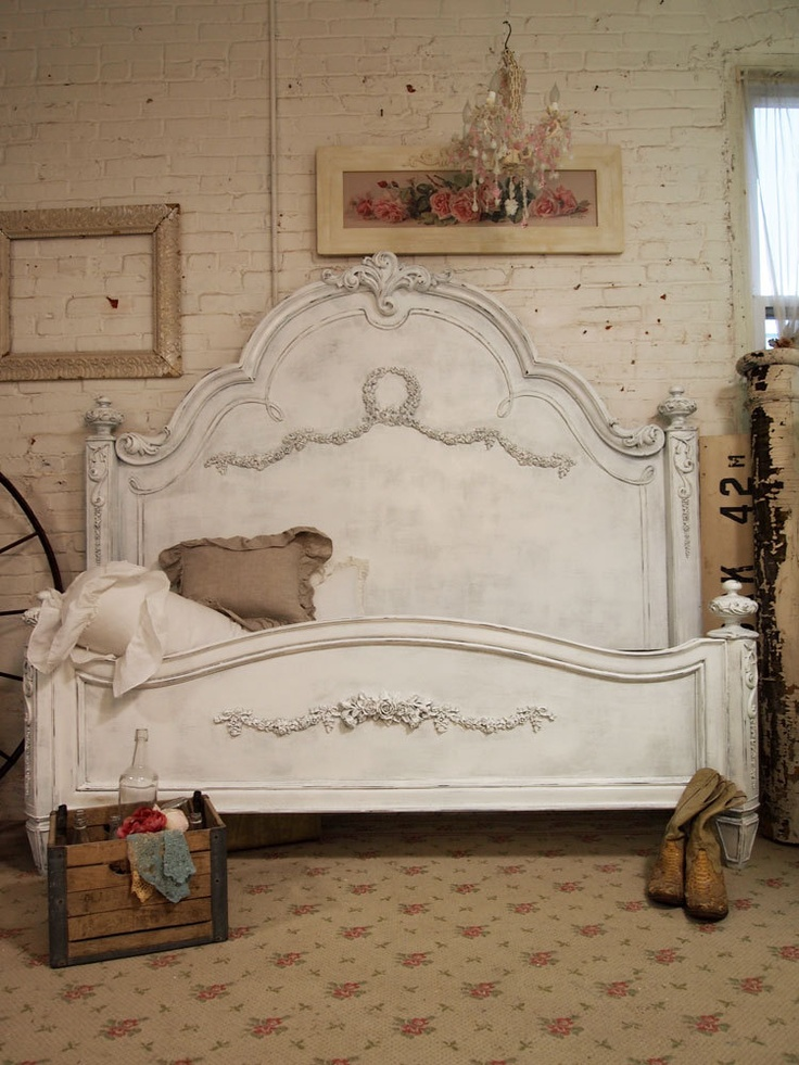 Painted cottage shabby grey king romance bed eastern or for Painted on headboard