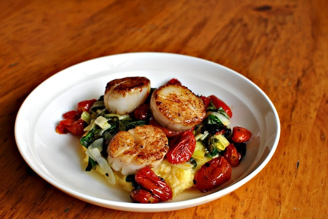 ... : Pan Seared Scallops with Roasted Tomatoes, Leeks and Creamy Polenta