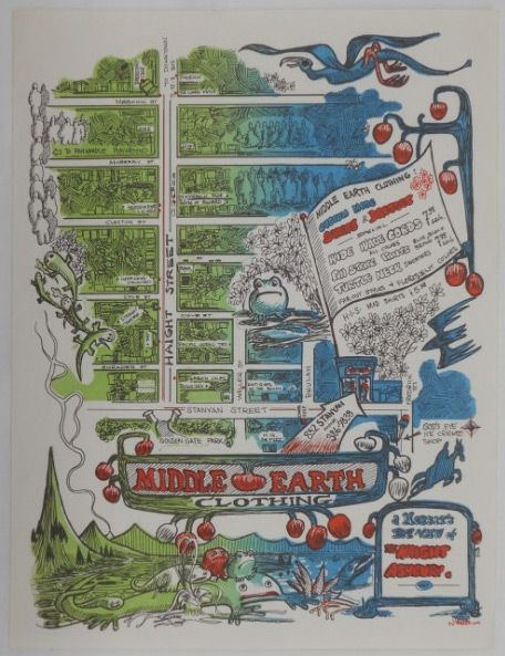 Promotional sign for the 1968 era hippie clothing store in San