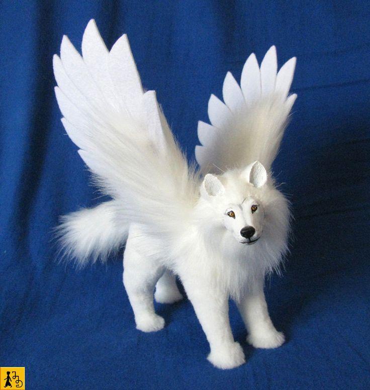 wolf angel posable art doll soft sculpture handmade ooak ...