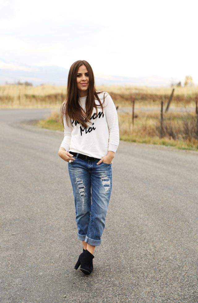 Boyfriend jeans with ankle boots! | trends to try... | Pinterest