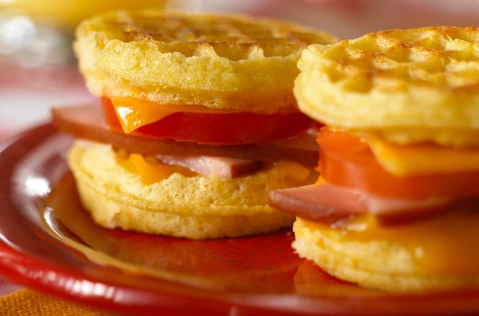 Mini Waffle Grilled Cheese Sandwiches with Canadian Bacon and Tomato ...
