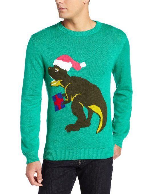 Amazon.com: Alex Stevens Men's Santa-Saurus Rex Ugly Christmas Sweater: Clothing