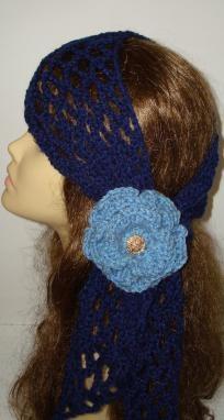 Crochet Gypsy Style Hair Band Pattern : Navy Blue Fashion Crochet Gypsy Style Head or Neck Scarf with Band ...
