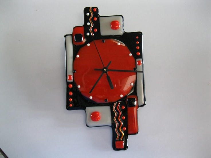 abstract fused glass clock fused glass clocks pinterest