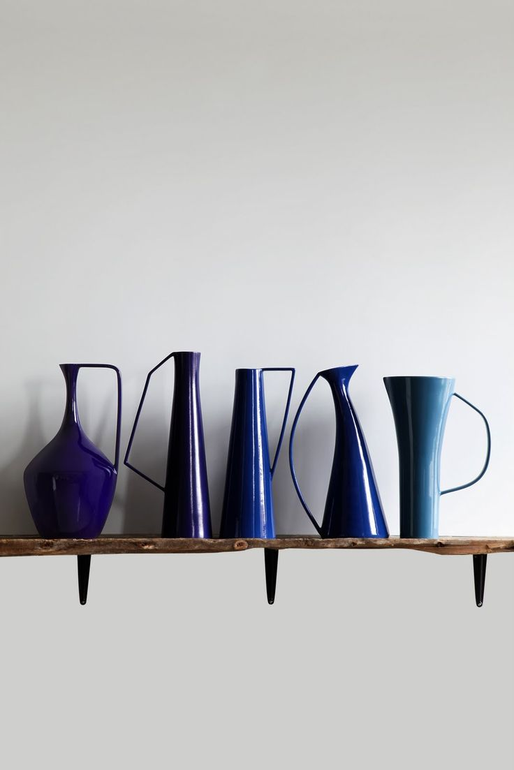 architectural blue vases
