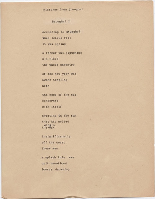 """an analysis of landscape with the fall of icarus a poem by william carlos williams The american poet william carlos williams wrote this is the poem with a brief analysis: one response to """"landscape with the fall of icarus."""