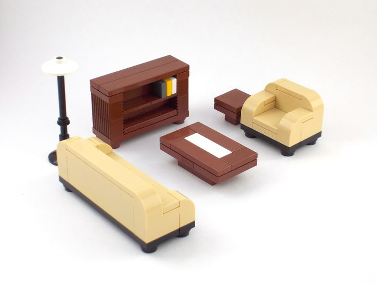 Lego Furniture Formal Seating Tan W Couch Bookshelf