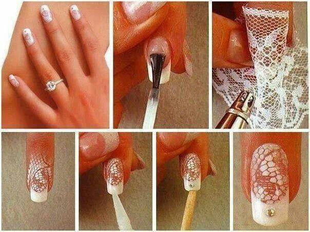 Nail art with lace   nail art   Pinterest