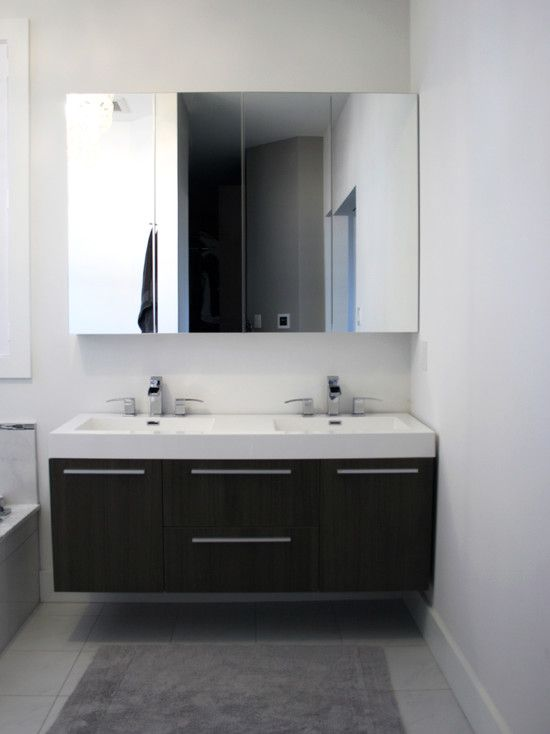 floating vanity. would make the space appear larger.