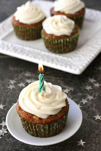 Carrot Ginger Cupcakes with Cream Cheese Frosting - moist cake studded ...