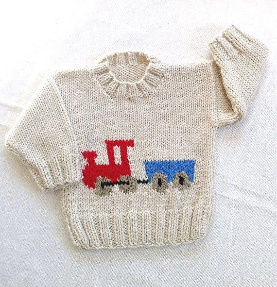 Knitting Pattern For Toy Train : Size 5 Osh Kosh BGosh Red Knit Train Sweater, Corduroy Train Patch Image...