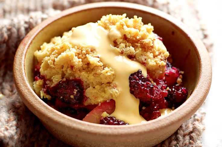 Apple crumble is a winter classic, but by adding berries to the fruit mix and ginger to the custard you serve with it, you give it some zing that makes it lighter.