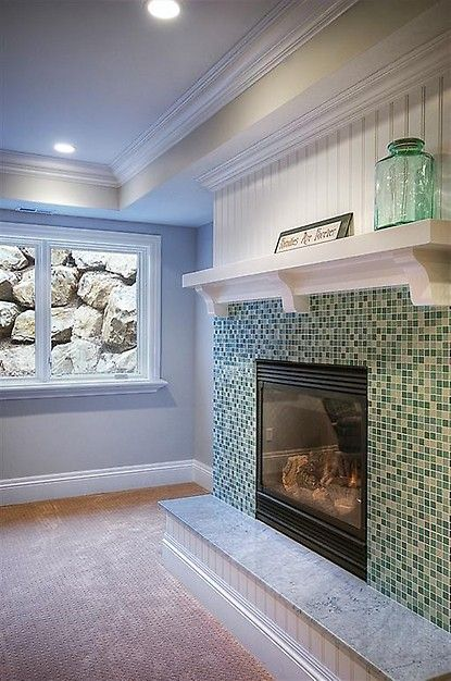 Glass Tile Fireplace Surround Home Sweet Home Pinterest
