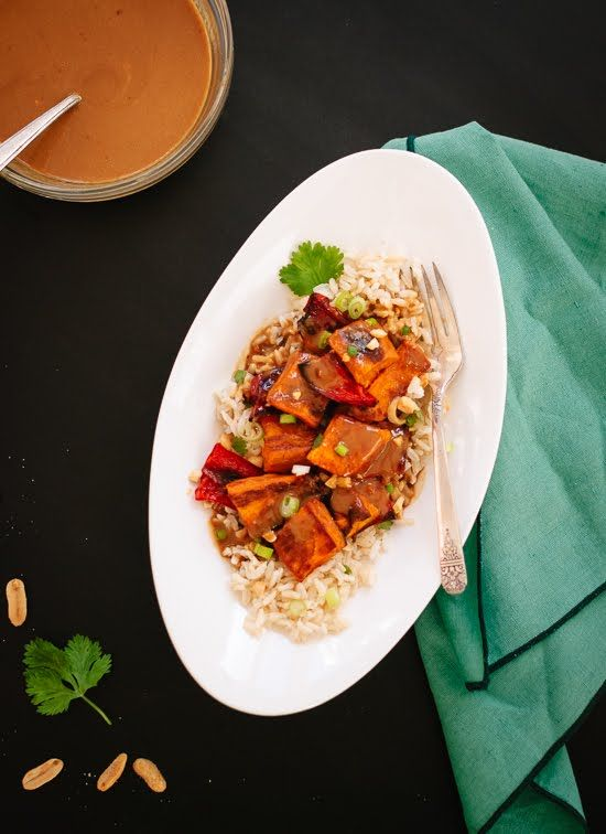 Spicy Thai Peanut Sauce over Roasted Sweet Potatoes and Rice | Recipe