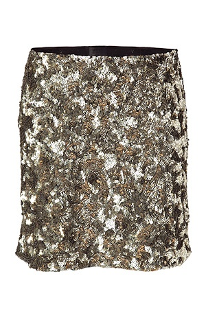 ANNA SUI  Oxidized Gold All Over Sequined Skirt