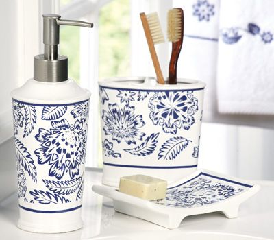 Westbrook blue white bathroom accessory set for Blue white bathroom accessories
