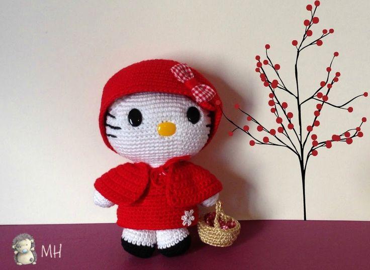 Hello Kitty Caperucita Roja Amigurumi, Patrón Gratis
