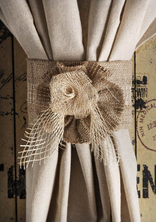 Burlap Jute Rose Curtain Tie Back Home Decor Rustic Home Decor Cuff