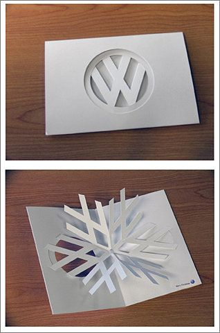clever volkswagen laser cut holiday card