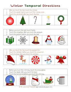 Winter temporal (before and after) directions. Free worksheet from Ms ...