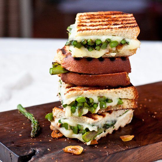 Goat Cheese & Asparagus Grilled Cheese Sandwich.