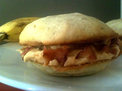Elvis Whoopie Pies = banana cake + honey-peanut butter filling + bacon ...