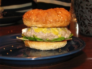 Turkey burger with honey mustard, blue cheese, arugula.
