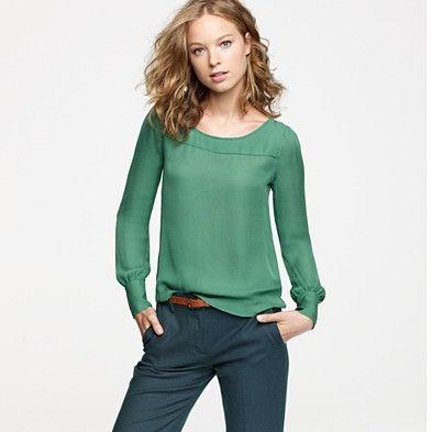 Talitha blouse JCrew.  Love it in wreath and cobblestone.  $110.00