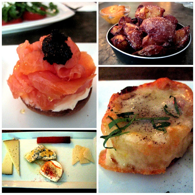 The Smoked salmon with caviar, honey, mascarpone cheese on a mini ...