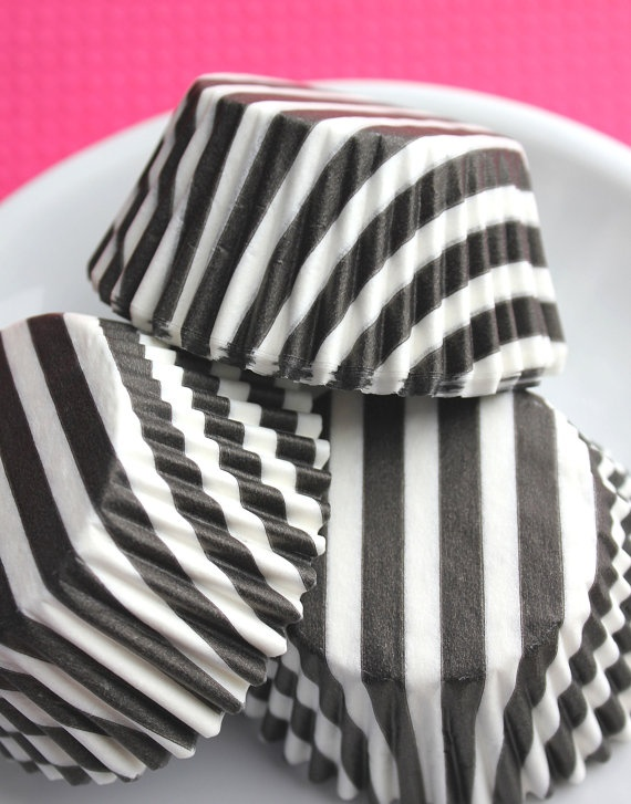 Black Stripe Cupcake Liners Baking Cups by thebakersconfections