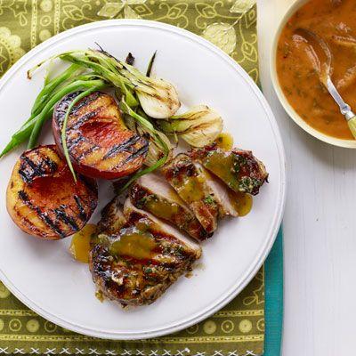 Grilled Pork Chops 'n' Peaches | Recipe
