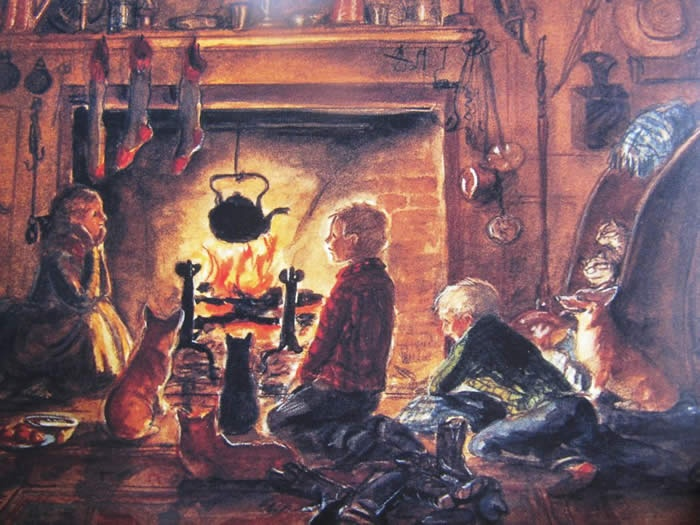 """""""Becky was allowed to set up the crèche herself this year. The crèche was made in the brick oven beside the big old-fashioned fireplace where people used to cook when Becky's house was new, a long, long time ago when America was new, too.""""   -Becky's Christmas"""