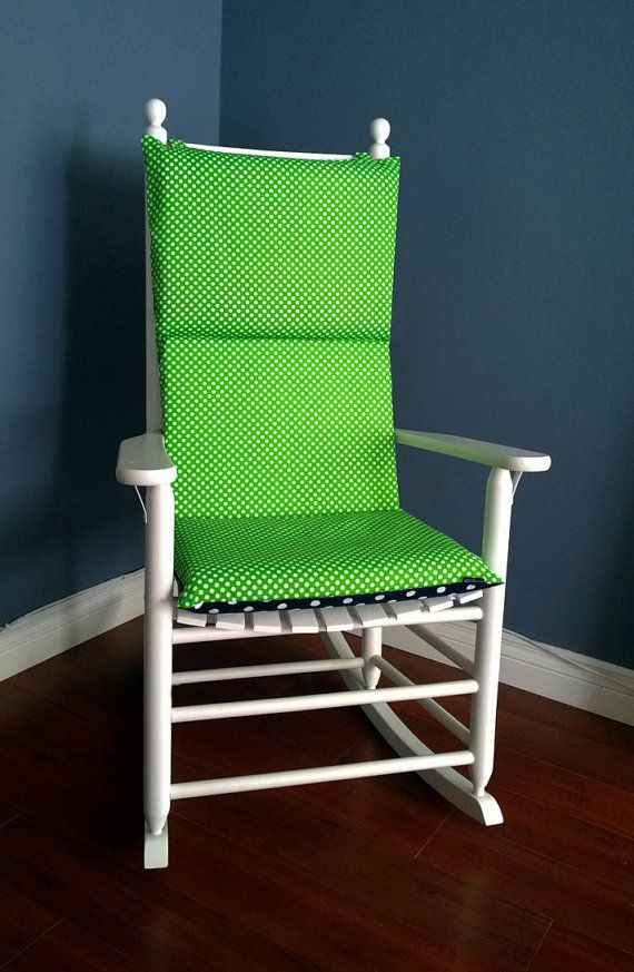 rocking chair cushion for baby nursery green navy polka dot by