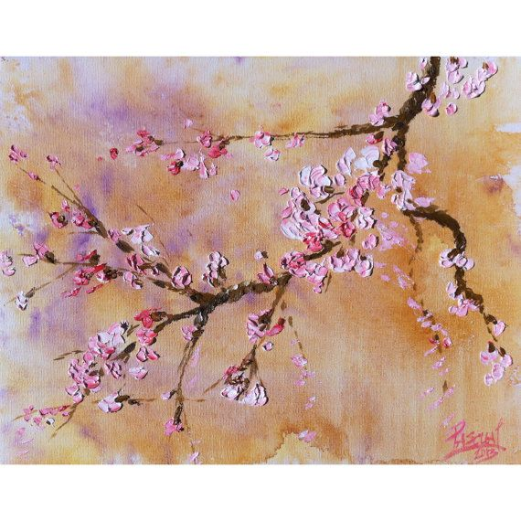 Original oil paintings cherry blossom original oil for Canvas painting of cherry blossoms