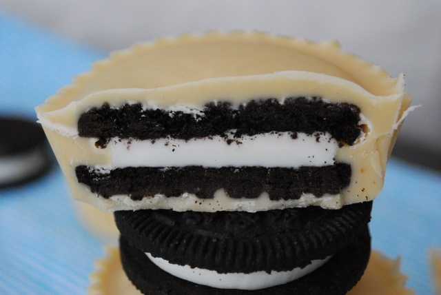 Inside out oreo peanut butter cups - My grandson would love these!