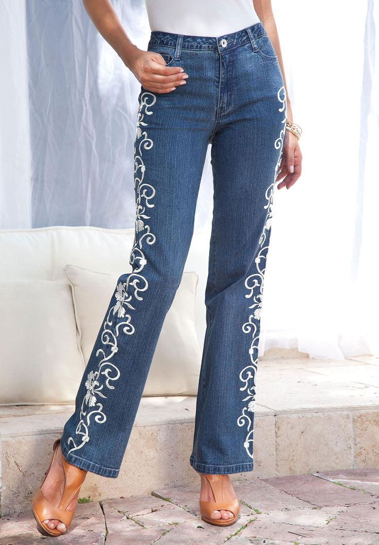 Petite embroidered jeans by denim
