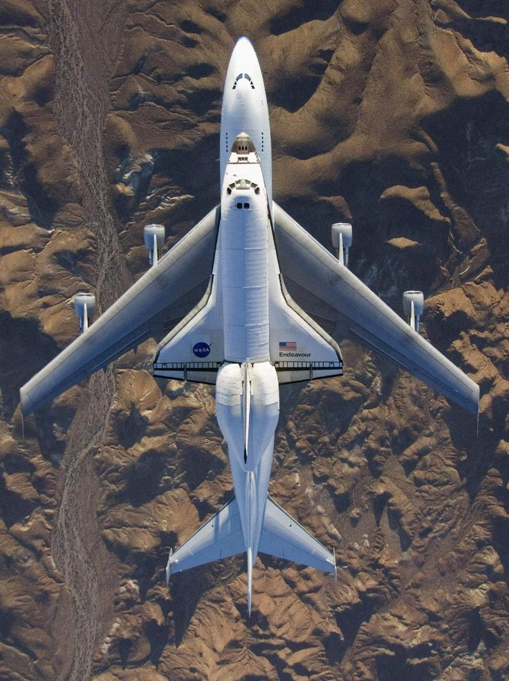 space shuttle Endeavour piggybacking a 747, en route to its retirement in California. beautiful!