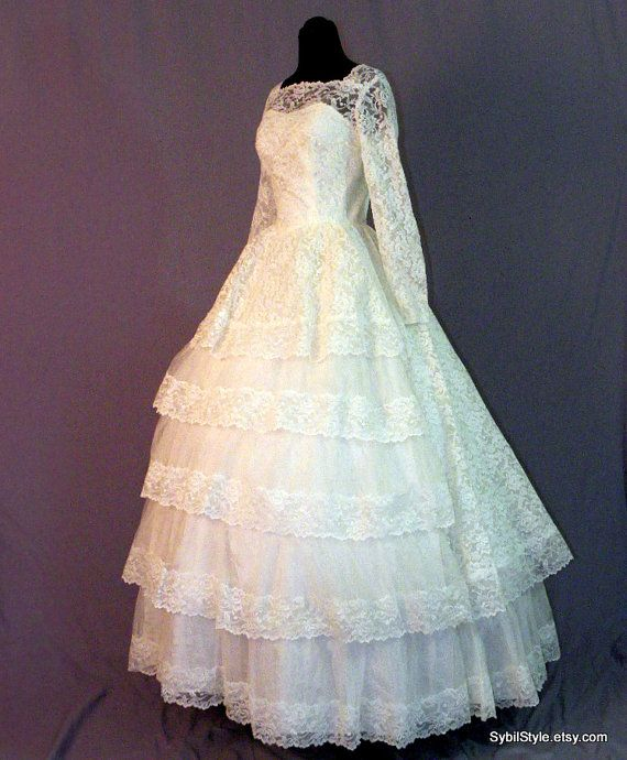 lace wedding dress 1960s by sybilstyle on etsy