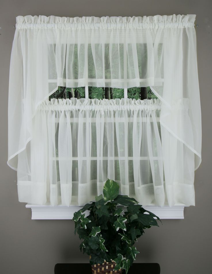 Elegance sheer voile Swag Pair, Tier Curtain Panel & Insert Valance in ...