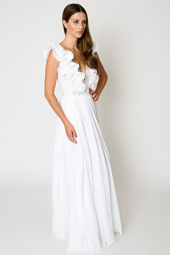 White Ruffle BOHEMIAN WEDDING Gauze Maxi DRESS Beach Wedding Dress Deep V