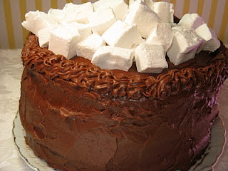 Hot Chocolate layer cake with homemade marshmallows
